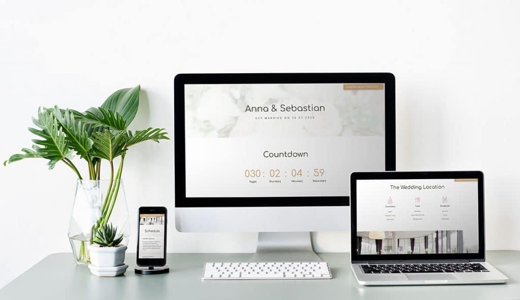 Digitale Einladung mit einer Hochzeitshomepage