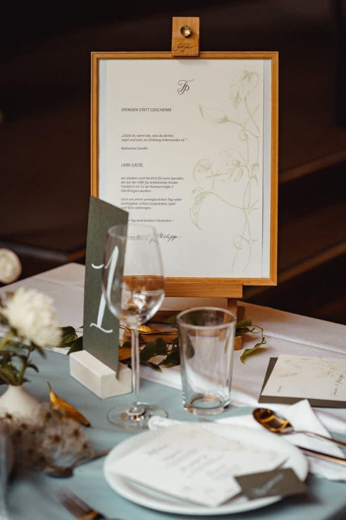 Papeterie am Hochzeitstisch